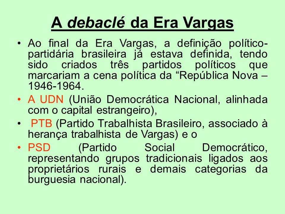 A debaclé da Era Vargas Ao final da Era Vargas, a definição político- partidária brasileira já estava definida, tendo sido criados três partidos polít
