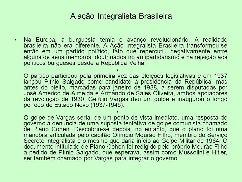 A ação Integralista Brasileira Na Europa, a burguesia temia o avanço revolucionário. A realidade brasileira não era diferente. A Ação Integralista Bra