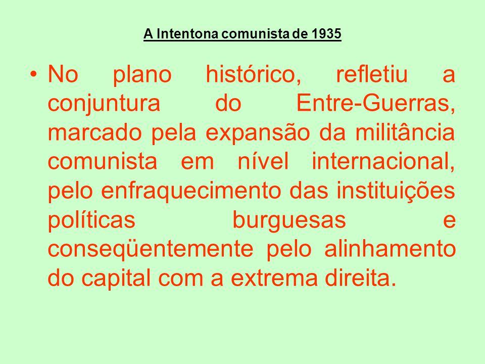 A Intentona comunista de 1935 No plano histórico, refletiu a conjuntura do Entre-Guerras, marcado pela expansão da militância comunista em nível inter
