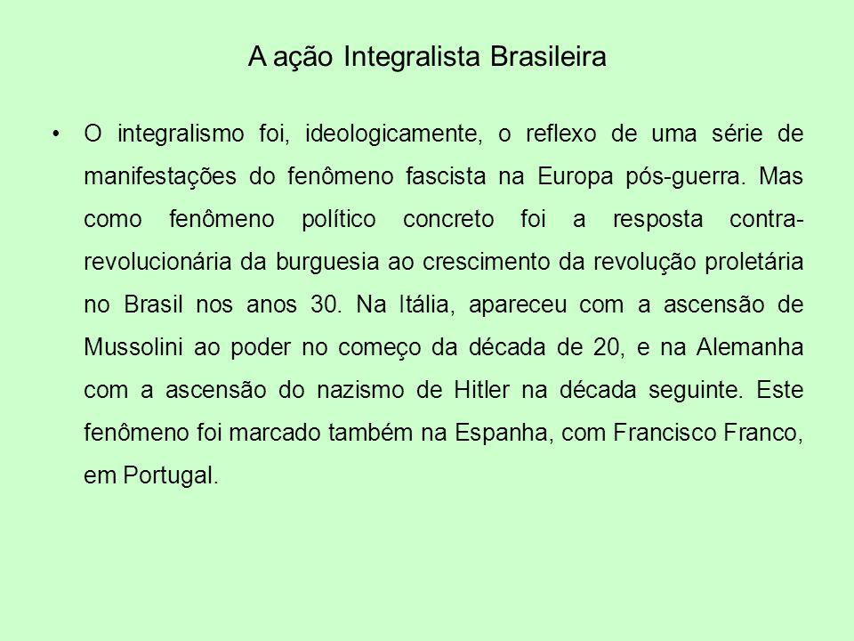 A ação Integralista Brasileira O integralismo foi, ideologicamente, o reflexo de uma série de manifestações do fenômeno fascista na Europa pós-guerra.