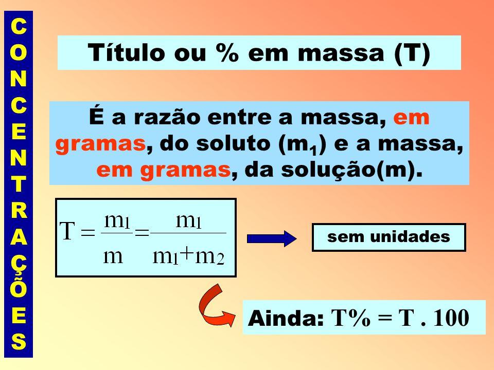 CONCENTRAÇÕESCONCENTRAÇÕES Exemplo Uma solução de NaOH apresenta 200 mg dessa base num volume de 400 mL de solução.