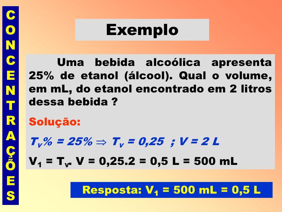 CONCENTRAÇÕESCONCENTRAÇÕES Título em volume (T v ) É a razão entre o volume, em L ou mL, do soluto (V 1 ) e o volume, em L ou mL, da solução(V).