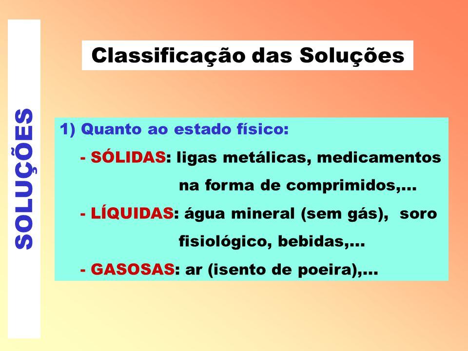 SOLUÇÕES Classificação das Soluções 1) Quanto ao estado físico: - SÓLIDAS: ligas metálicas, medicamentos na forma de comprimidos,...