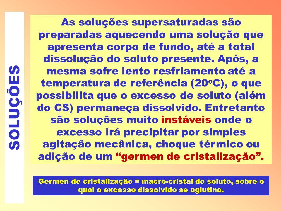SOLUÇÕES As soluções supersaturadas são preparadas aquecendo uma solução que apresenta corpo de fundo, até a total dissolução do soluto presente.