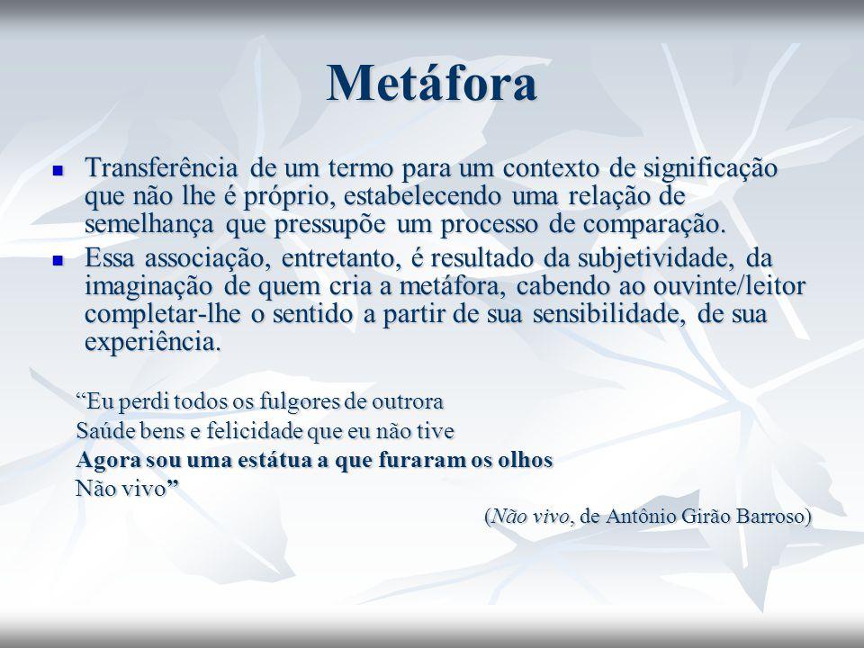 Metáfora Transferência de um termo para um contexto de significação que não lhe é próprio, estabelecendo uma relação de semelhança que pressupõe um pr