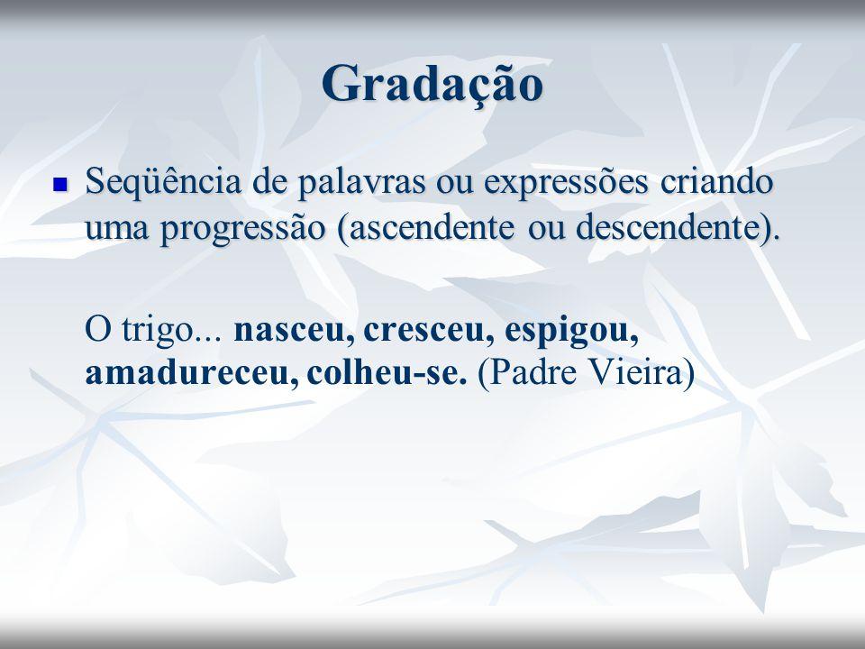 Gradação Seqüência de palavras ou expressões criando uma progressão (ascendente ou descendente). Seqüência de palavras ou expressões criando uma progr