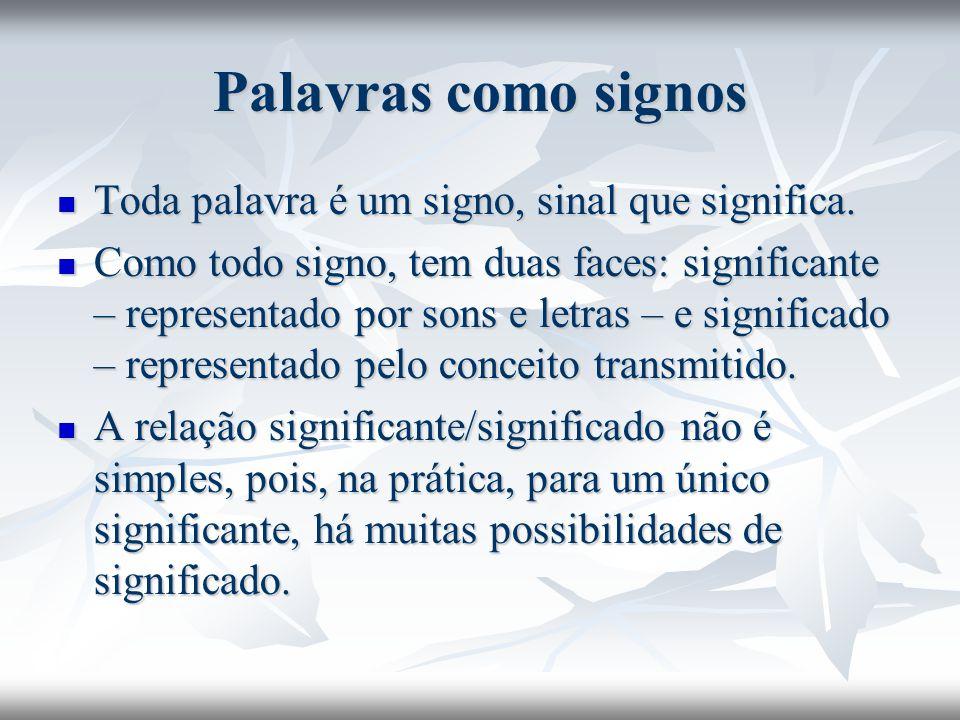 Palavras como signos Toda palavra é um signo, sinal que significa. Toda palavra é um signo, sinal que significa. Como todo signo, tem duas faces: sign