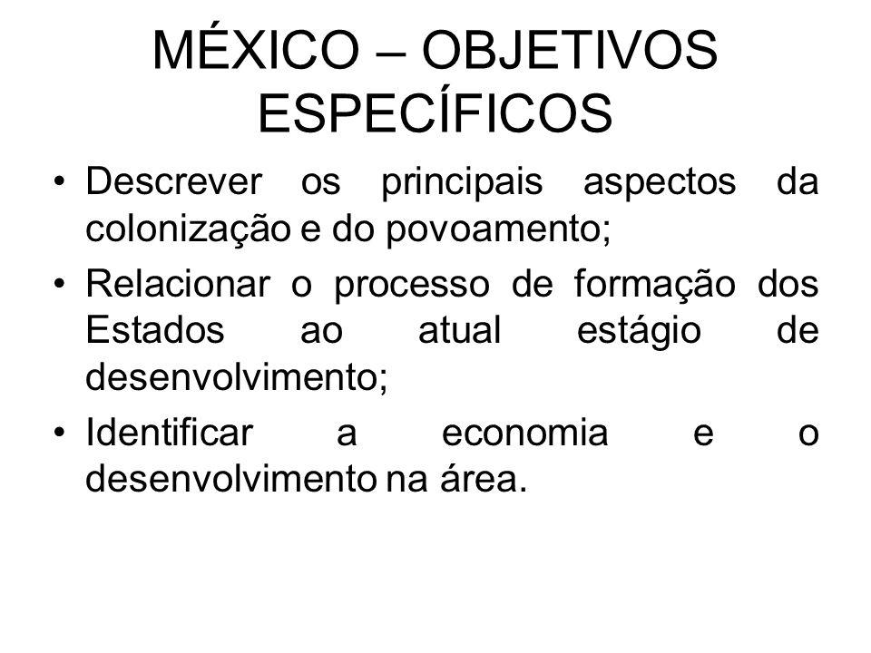 MÉXICO – OBJETIVOS ESPECÍFICOS Descrever os principais aspectos da colonização e do povoamento; Relacionar o processo de formação dos Estados ao atual