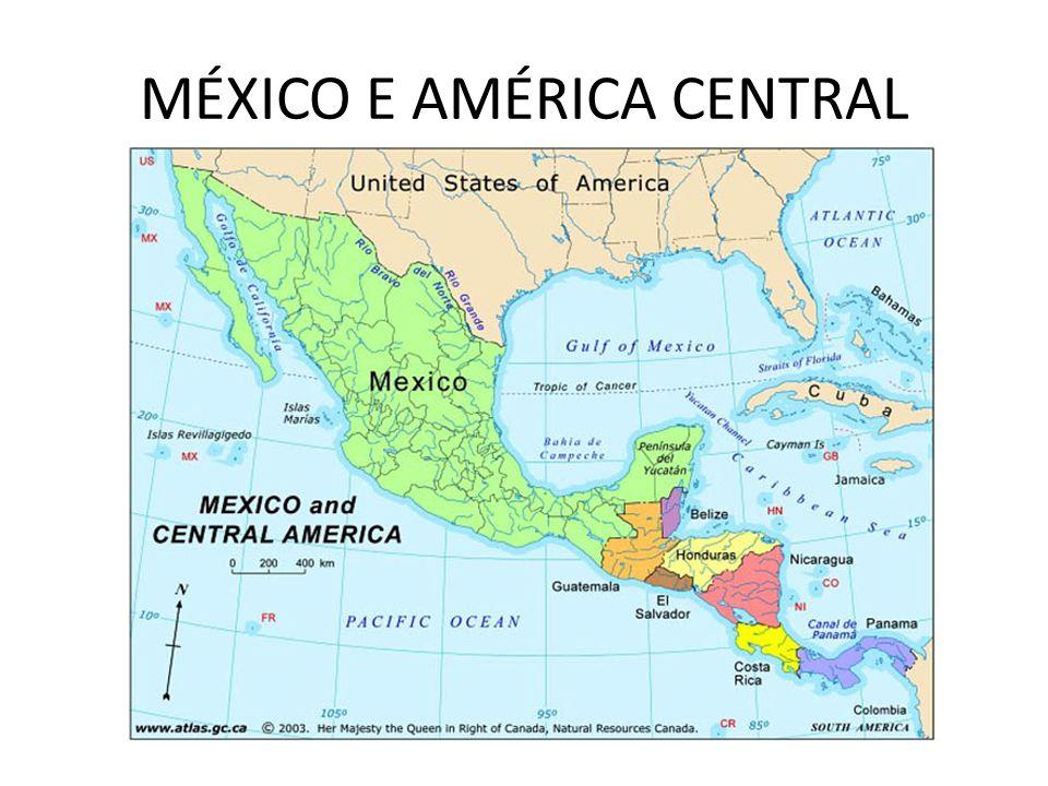 POPULAÇÃO –60% EURAMERÍNDIOS + 30% AMERÍNDIOS + 9% BRANCOS + 1% NEGROS; –75% da população mexicana é URBANA – concentrada na região Centro-Sul (o norte é semi- árido e o sul é florestal); –A Cidade do México possui mais de 8 milhões de habitantes; –Maior área de favelas do mundo.
