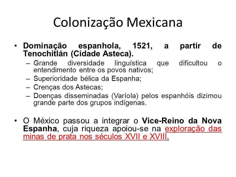 Colonização Mexicana Dominação espanhola, 1521, a partir de Tenochitlán (Cidade Asteca). –Grande diversidade linguística que dificultou o entendimento