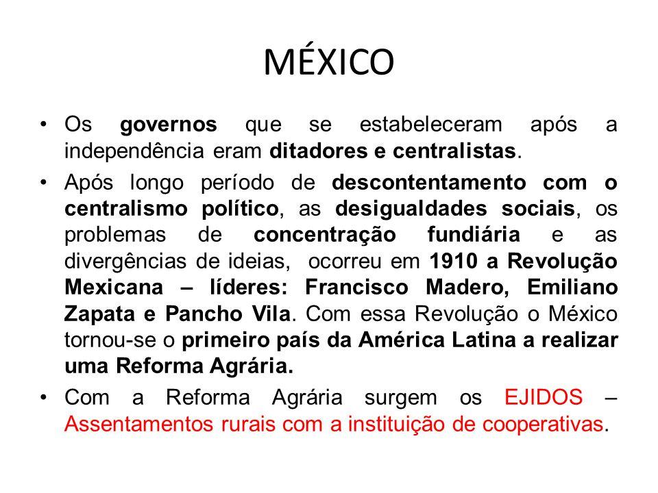 MÉXICO Os governos que se estabeleceram após a independência eram ditadores e centralistas. Após longo período de descontentamento com o centralismo p