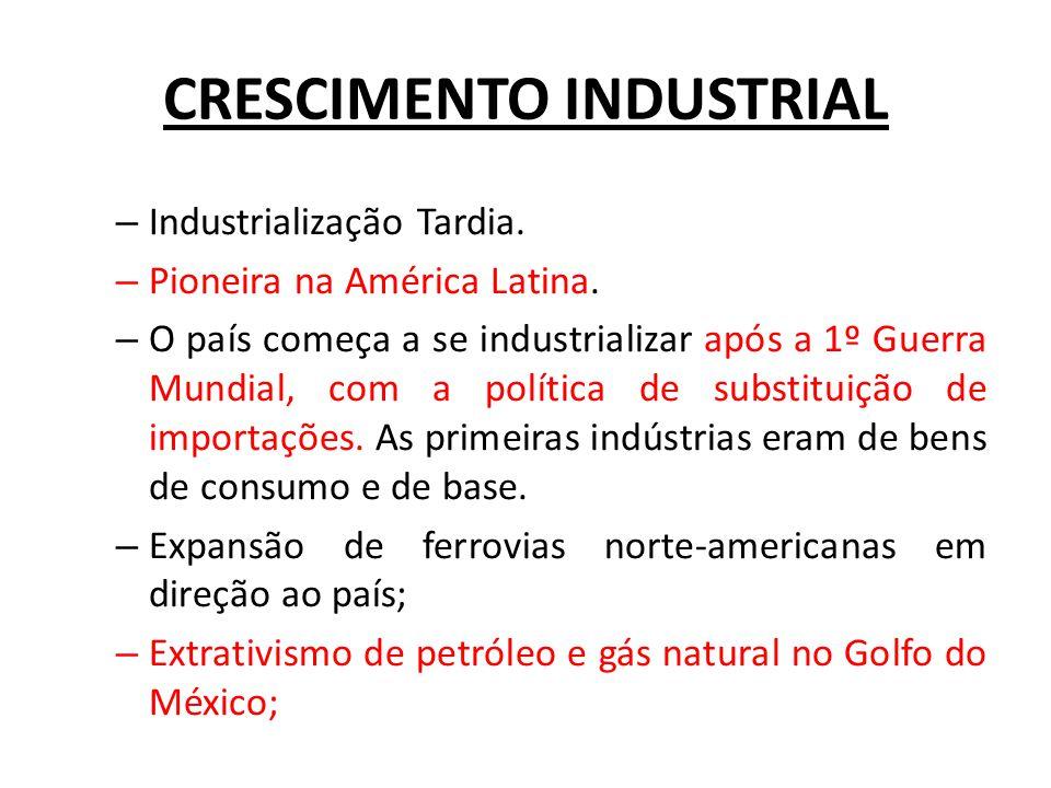 CRESCIMENTO INDUSTRIAL – Industrialização Tardia. – Pioneira na América Latina. – O país começa a se industrializar após a 1º Guerra Mundial, com a po