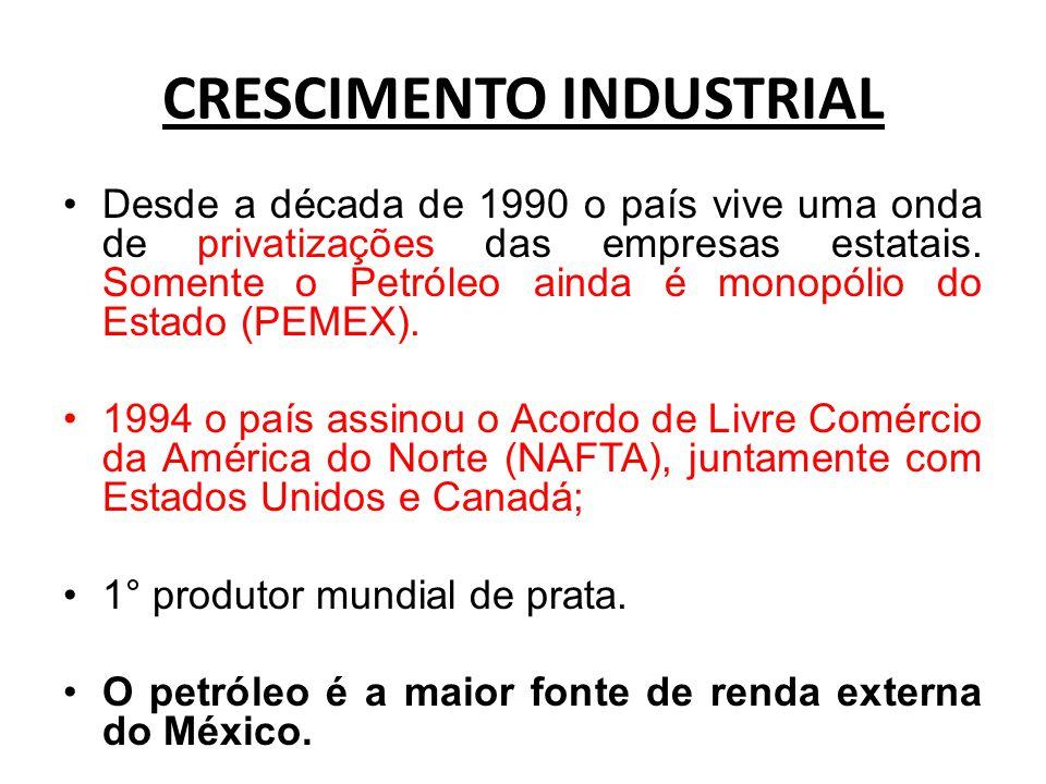 CRESCIMENTO INDUSTRIAL Desde a década de 1990 o país vive uma onda de privatizações das empresas estatais. Somente o Petróleo ainda é monopólio do Est