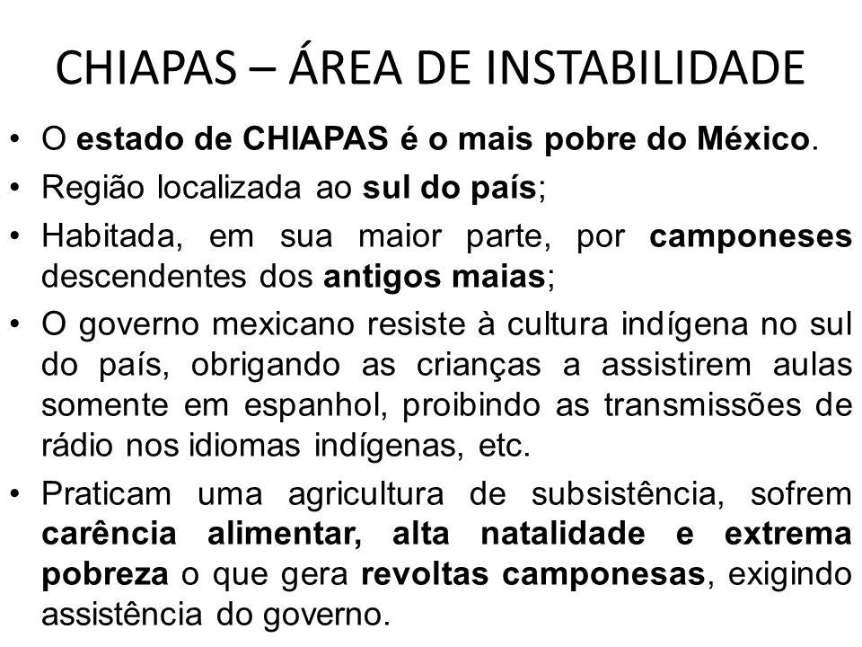 CHIAPAS – ÁREA DE INSTABILIDADE O estado de CHIAPAS é o mais pobre do México. Região localizada ao sul do país; Habitada, em sua maior parte, por camp