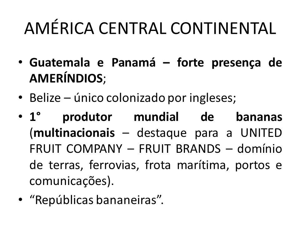 AMÉRICA CENTRAL CONTINENTAL Guatemala e Panamá – forte presença de AMERÍNDIOS; Belize – único colonizado por ingleses; 1° produtor mundial de bananas