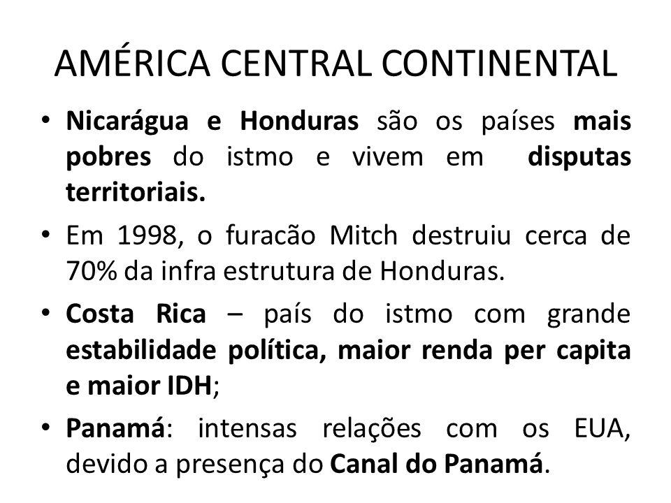 AMÉRICA CENTRAL CONTINENTAL Nicarágua e Honduras são os países mais pobres do istmo e vivem em disputas territoriais. Em 1998, o furacão Mitch destrui