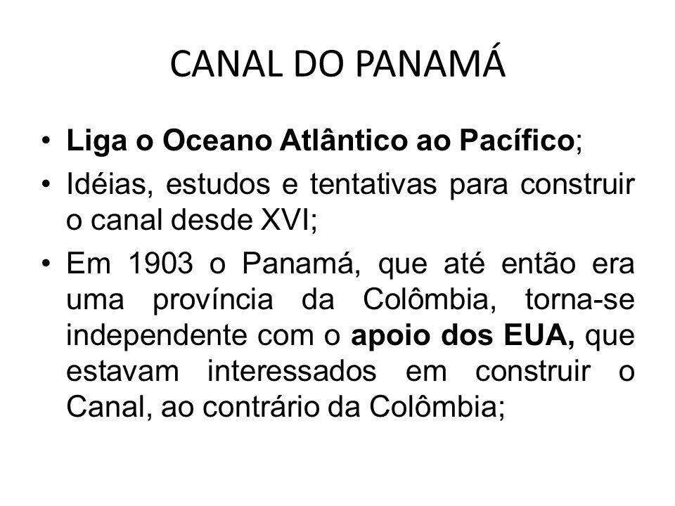 Liga o Oceano Atlântico ao Pacífico; Idéias, estudos e tentativas para construir o canal desde XVI; Em 1903 o Panamá, que até então era uma província
