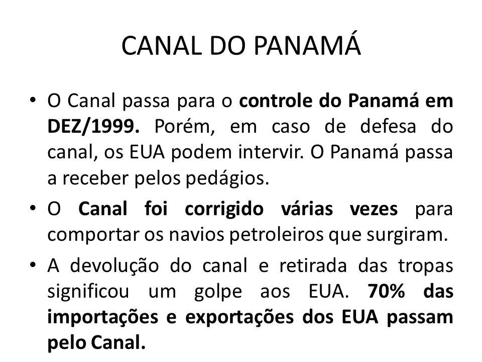 CANAL DO PANAMÁ O Canal passa para o controle do Panamá em DEZ/1999. Porém, em caso de defesa do canal, os EUA podem intervir. O Panamá passa a recebe