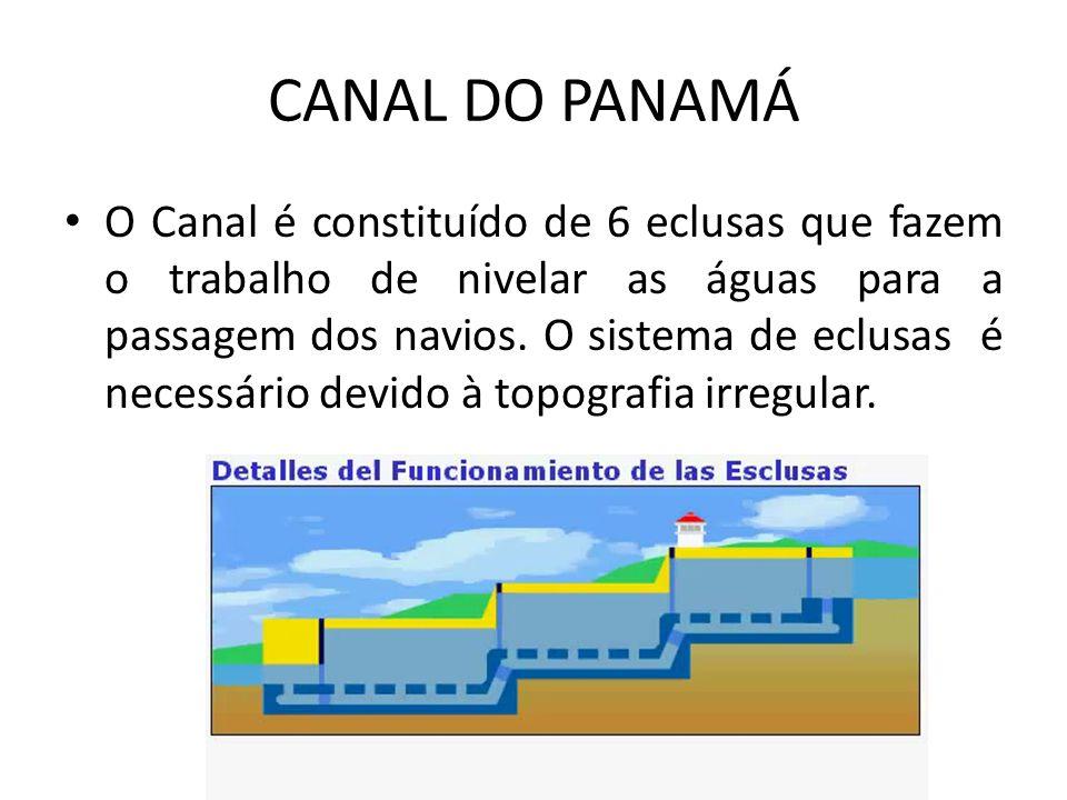 CANAL DO PANAMÁ O Canal é constituído de 6 eclusas que fazem o trabalho de nivelar as águas para a passagem dos navios. O sistema de eclusas é necessá