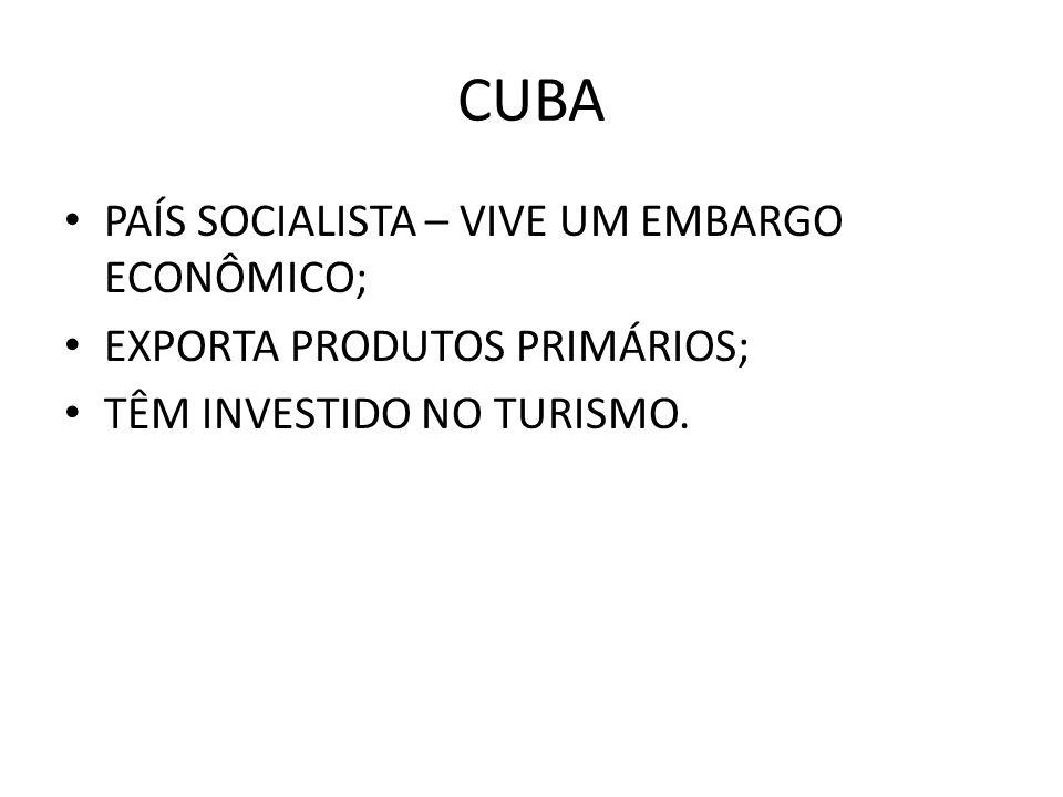 CUBA PAÍS SOCIALISTA – VIVE UM EMBARGO ECONÔMICO; EXPORTA PRODUTOS PRIMÁRIOS; TÊM INVESTIDO NO TURISMO.