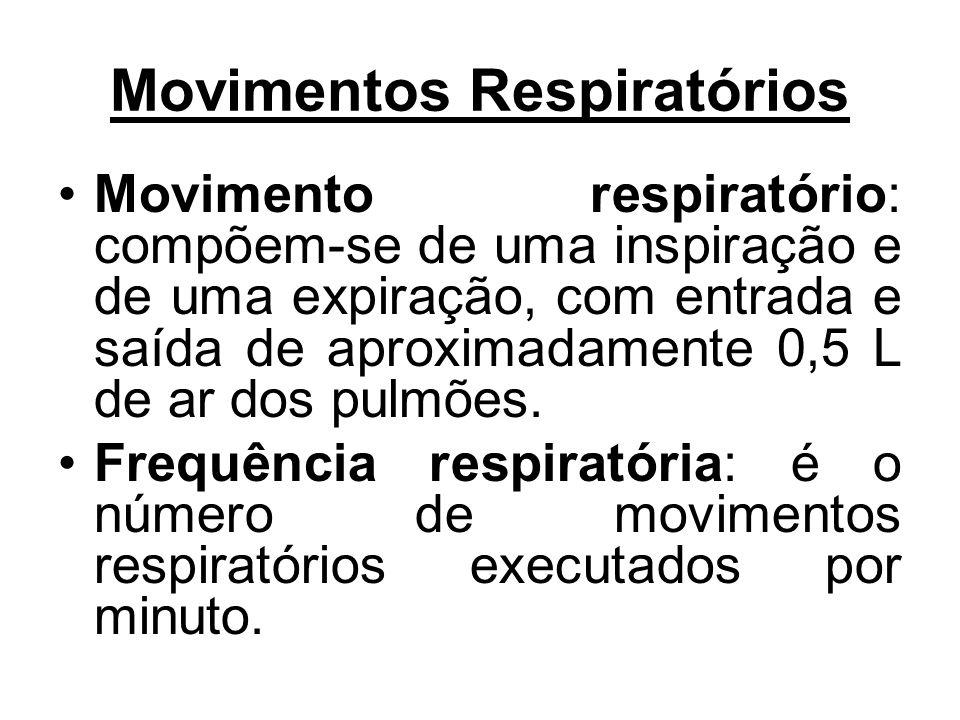 Movimentos Respiratórios Movimento respiratório: compõem-se de uma inspiração e de uma expiração, com entrada e saída de aproximadamente 0,5 L de ar d