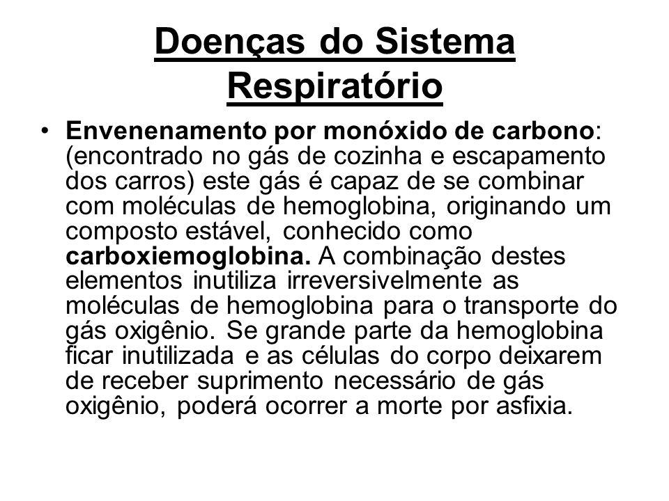 Doenças do Sistema Respiratório Envenenamento por monóxido de carbono: (encontrado no gás de cozinha e escapamento dos carros) este gás é capaz de se