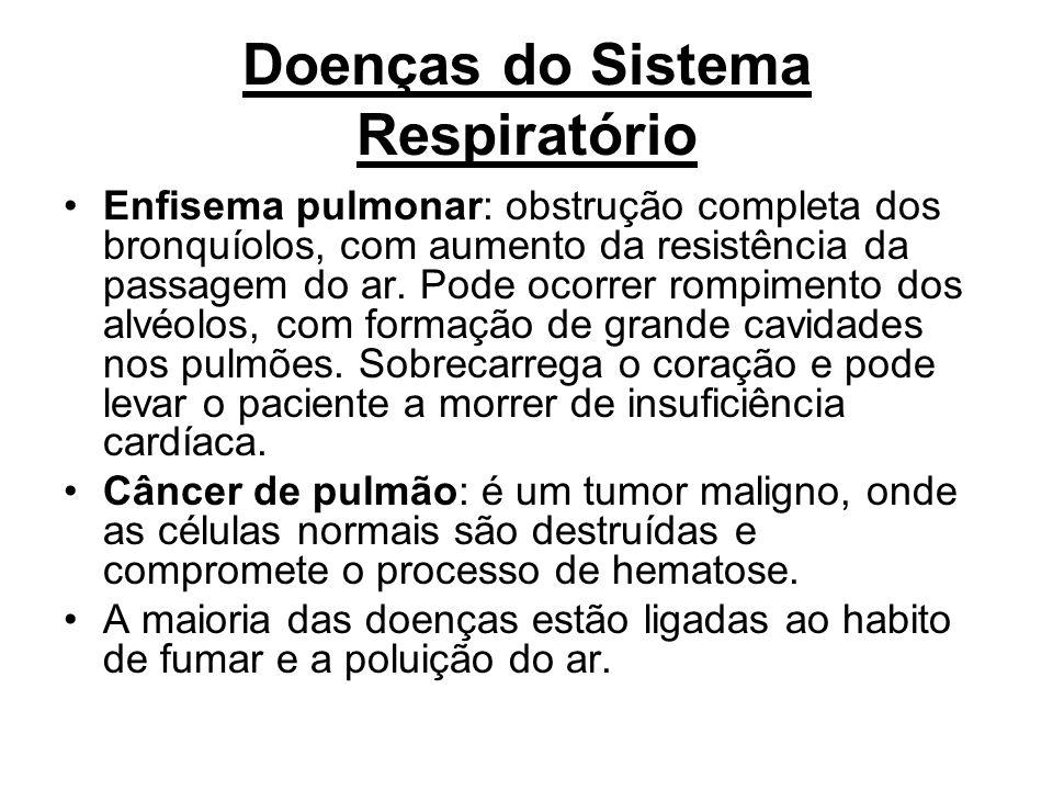 Doenças do Sistema Respiratório Enfisema pulmonar: obstrução completa dos bronquíolos, com aumento da resistência da passagem do ar. Pode ocorrer romp