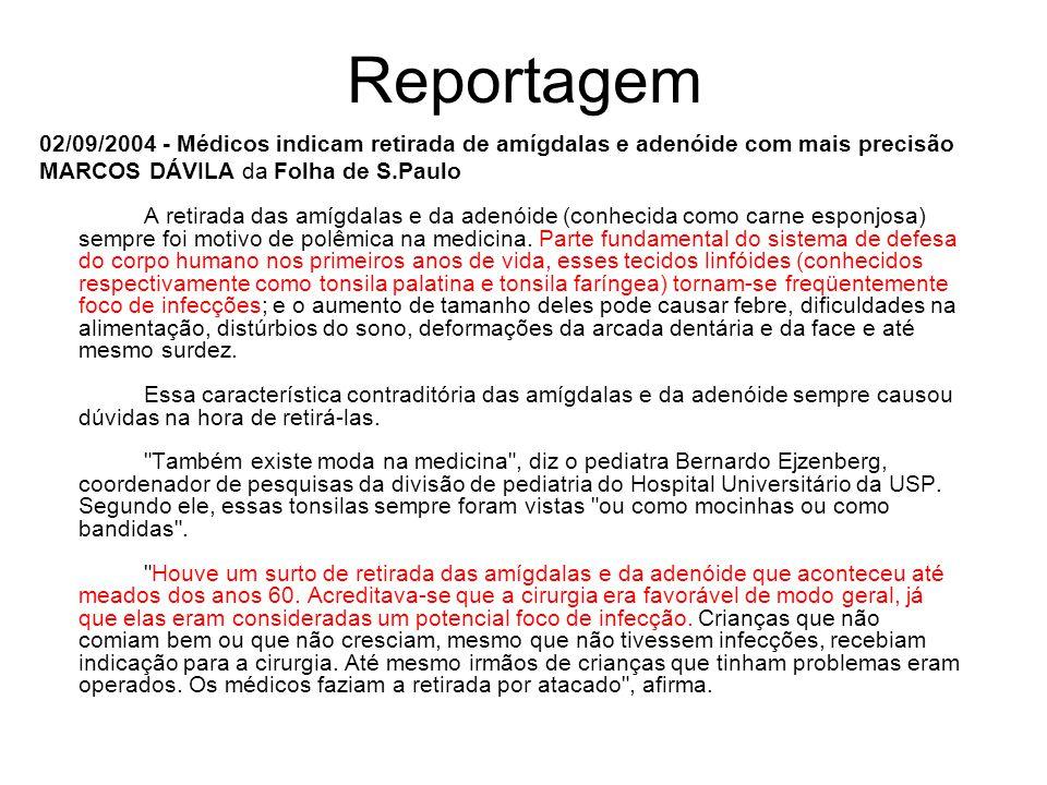 Reportagem 02/09/2004 - Médicos indicam retirada de amígdalas e adenóide com mais precisão MARCOS DÁVILA da Folha de S.Paulo A retirada das amígdalas