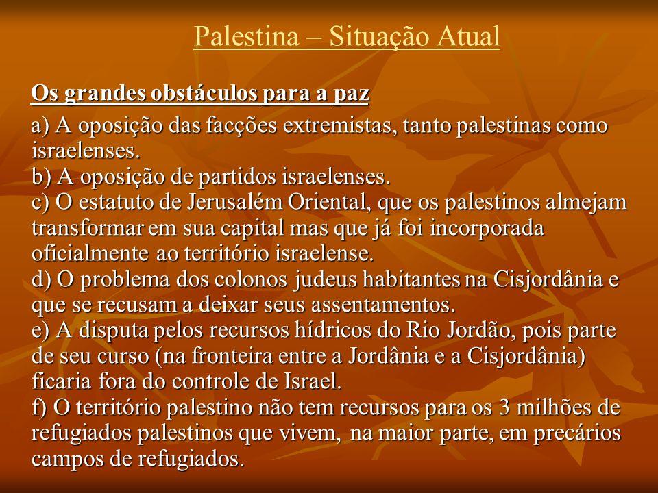 Palestina – Situação Atual Os grandes obstáculos para a paz a) A oposição das facções extremistas, tanto palestinas como israelenses.