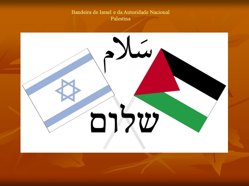 Bandeira de Israel e da Autoridade Nacional Palestina