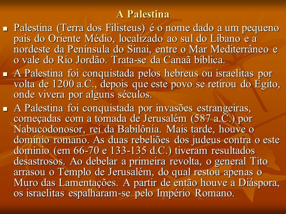 A Palestina Palestina (Terra dos Filisteus) é o nome dado a um pequeno país do Oriente Médio, localizado ao sul do Líbano e a nordeste da Península do Sinai, entre o Mar Mediterrâneo e o vale do Rio Jordão.