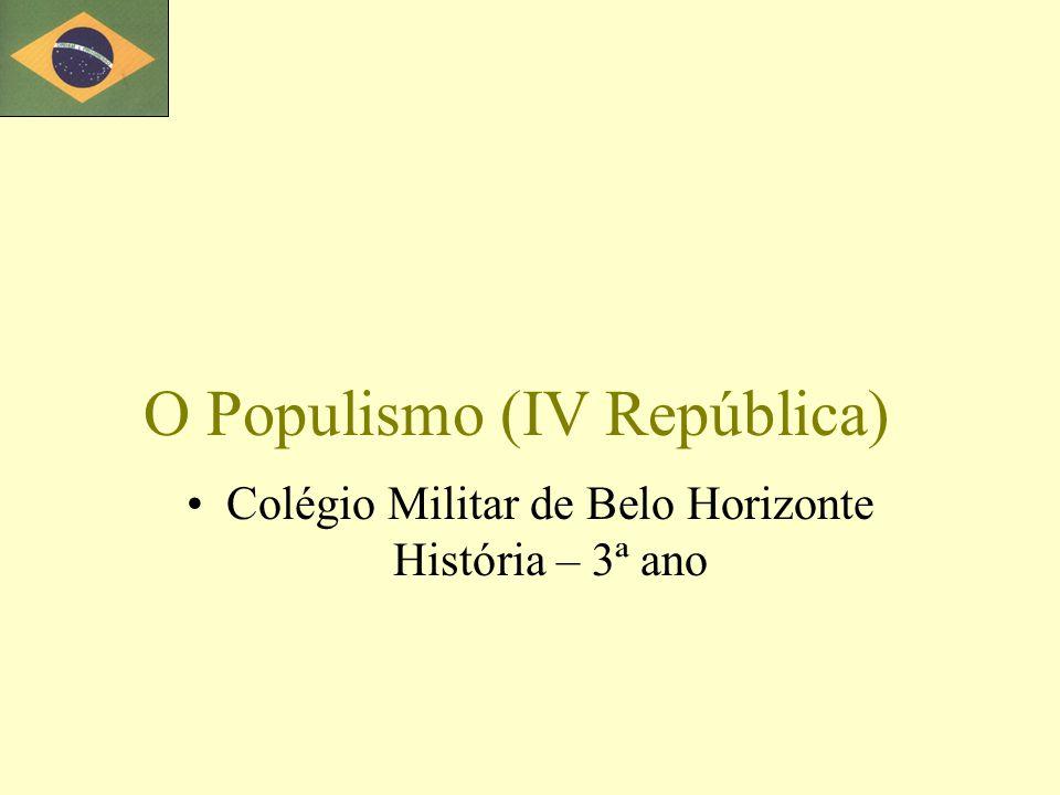 O Populismo (IV República) Colégio Militar de Belo Horizonte História – 3ª ano