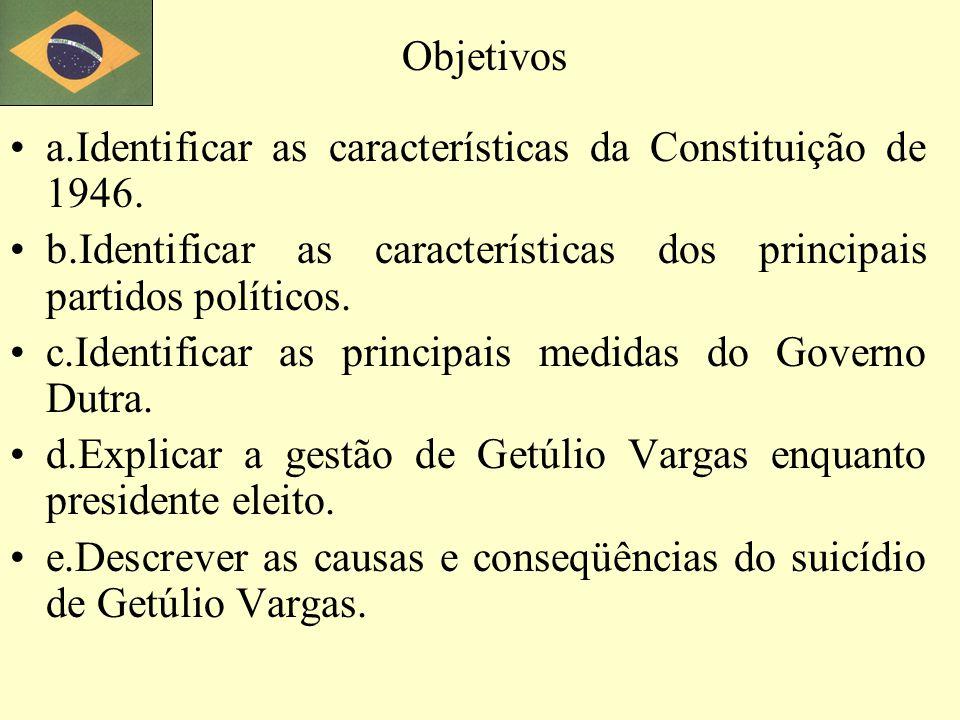 a.Identificar as características da Constituição de 1946. b.Identificar as características dos principais partidos políticos. c.Identificar as princip