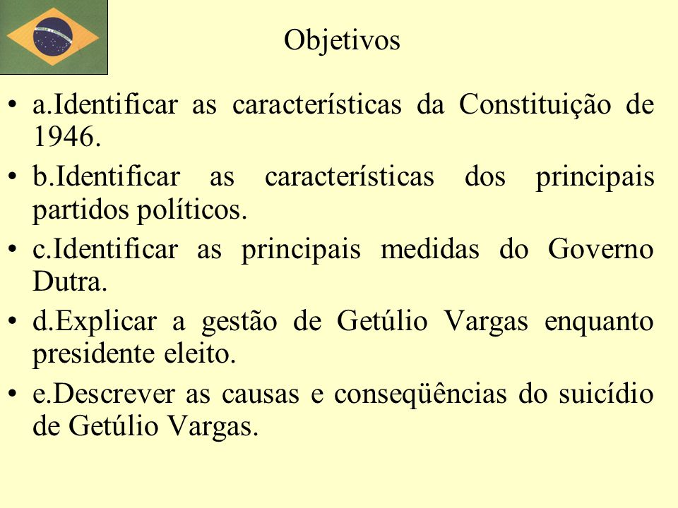 f.Identificar os motivos da instabilidade política entre os governos Vargas e Kubitschek.