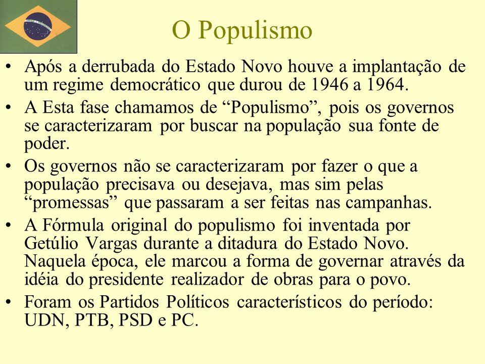O Populismo Após a derrubada do Estado Novo houve a implantação de um regime democrático que durou de 1946 a 1964. A Esta fase chamamos de Populismo,