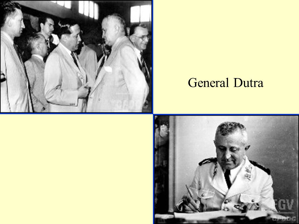 Governo Democrático de Getúlio Vargas (1950-1954) Eleito pelo PTB-PSP Getúlio retoma propostas trabalhistas – grande aumento do salário mínimo Desenvolvimento da industria nacional – constituição da Petrobrás e do BNDS.