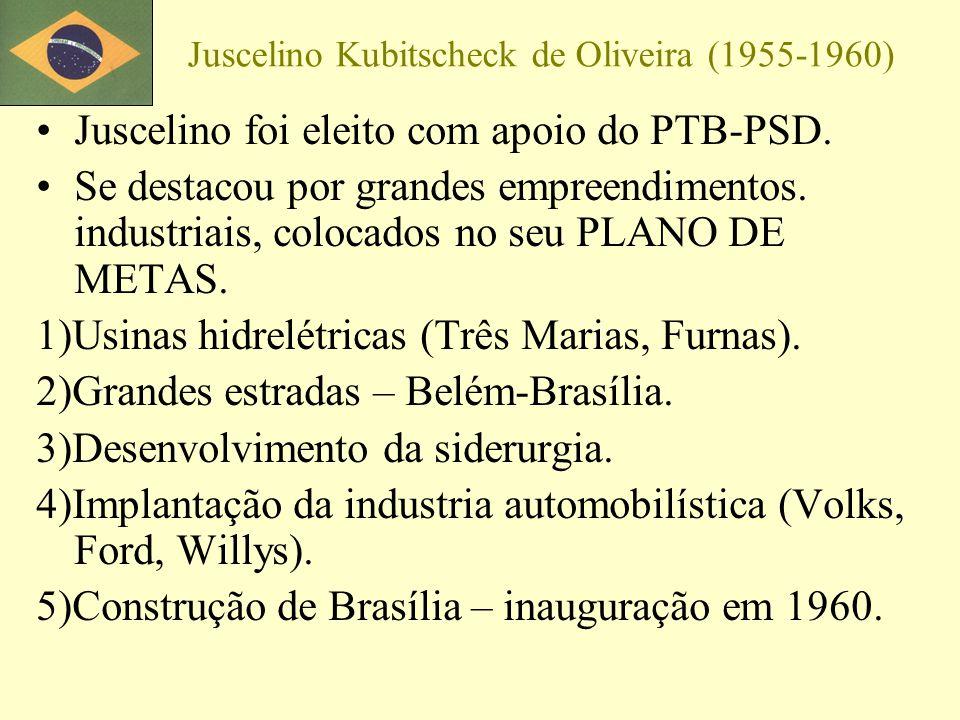 Juscelino Kubitscheck de Oliveira (1955-1960) Juscelino foi eleito com apoio do PTB-PSD. Se destacou por grandes empreendimentos. industriais, colocad