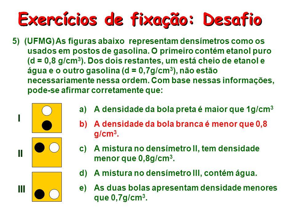 Exercícios de fixação: Desafio 5) (UFMG) As figuras abaixo representam densímetros como os usados em postos de gasolina. O primeiro contém etanol puro