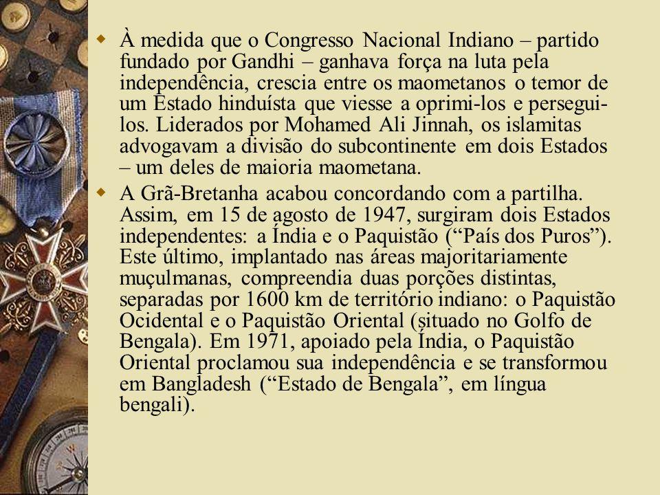 À medida que o Congresso Nacional Indiano – partido fundado por Gandhi – ganhava força na luta pela independência, crescia entre os maometanos o temor