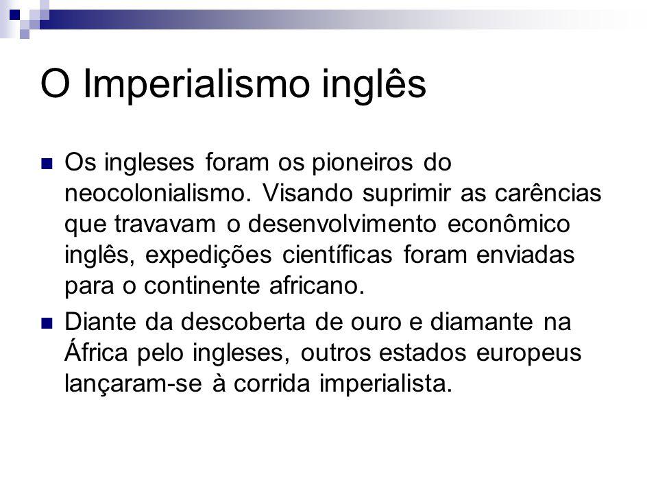 O Imperialismo inglês Os ingleses foram os pioneiros do neocolonialismo.