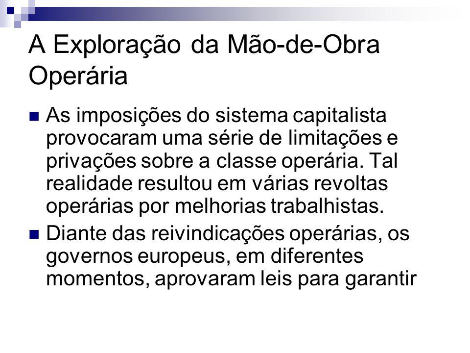 A Exploração da Mão-de-Obra Operária As imposições do sistema capitalista provocaram uma série de limitações e privações sobre a classe operária.