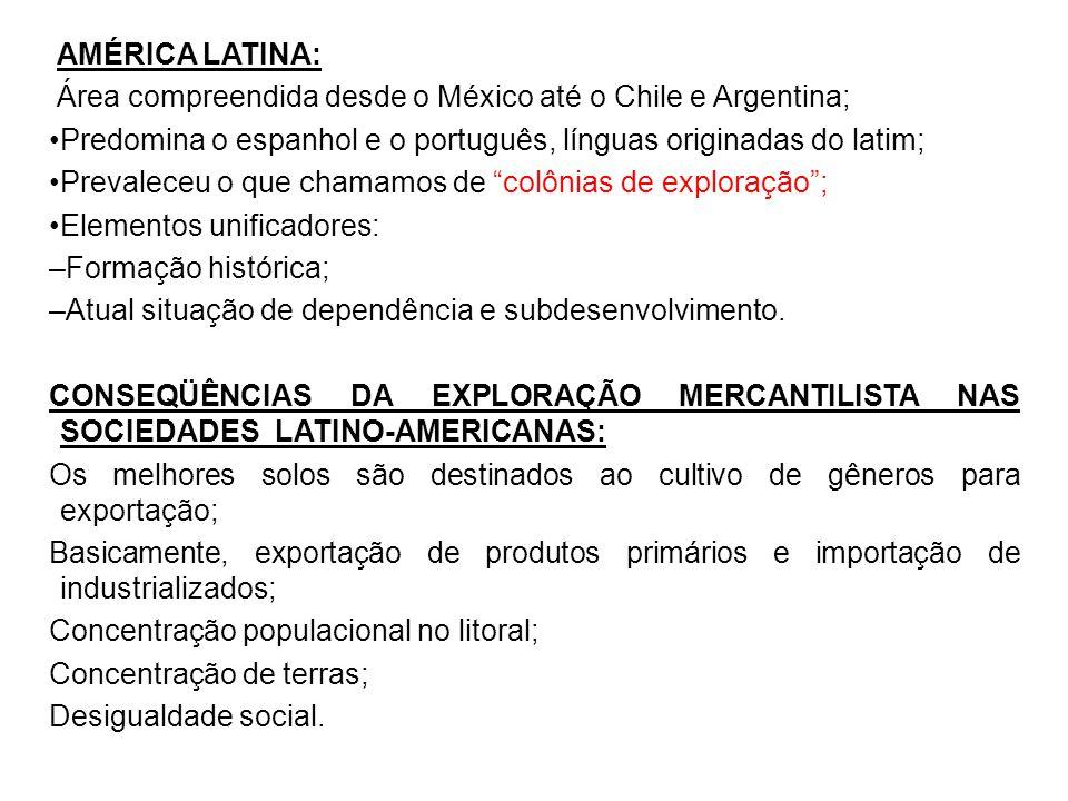 AMÉRICA LATINA: Área compreendida desde o México até o Chile e Argentina; Predomina o espanhol e o português, línguas originadas do latim; Prevaleceu