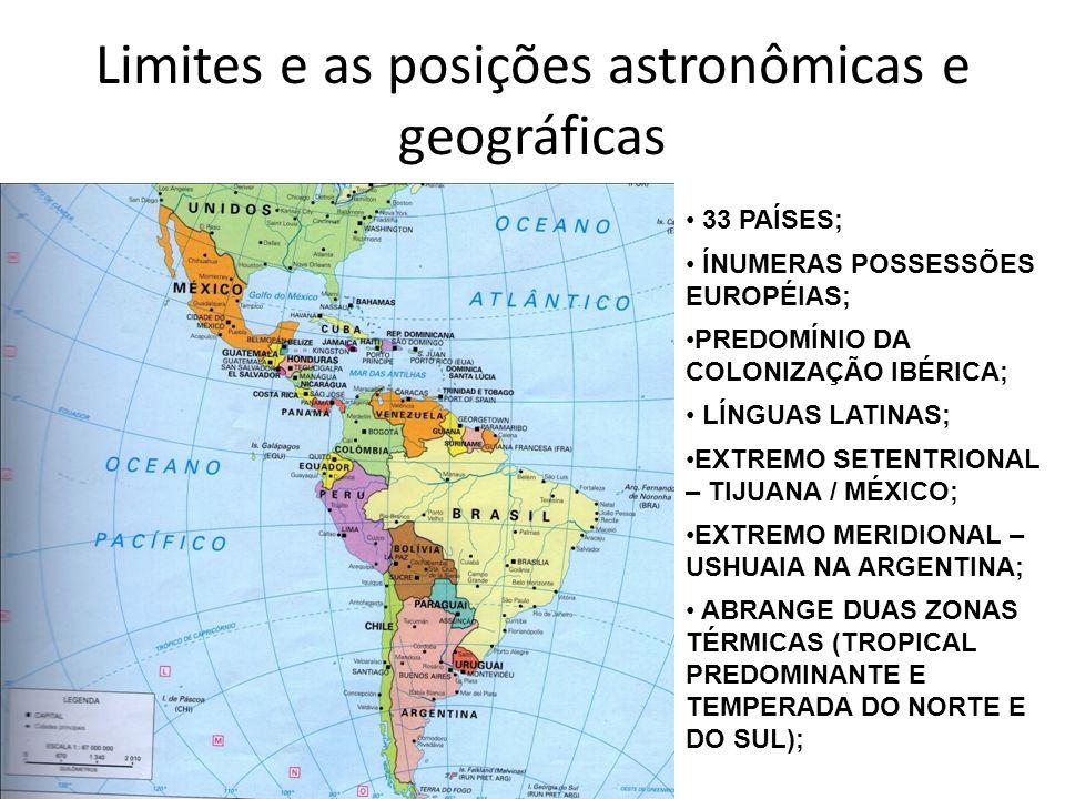 Limites e as posições astronômicas e geográficas 33 PAÍSES; ÍNUMERAS POSSESSÕES EUROPÉIAS; PREDOMÍNIO DA COLONIZAÇÃO IBÉRICA; LÍNGUAS LATINAS; EXTREMO