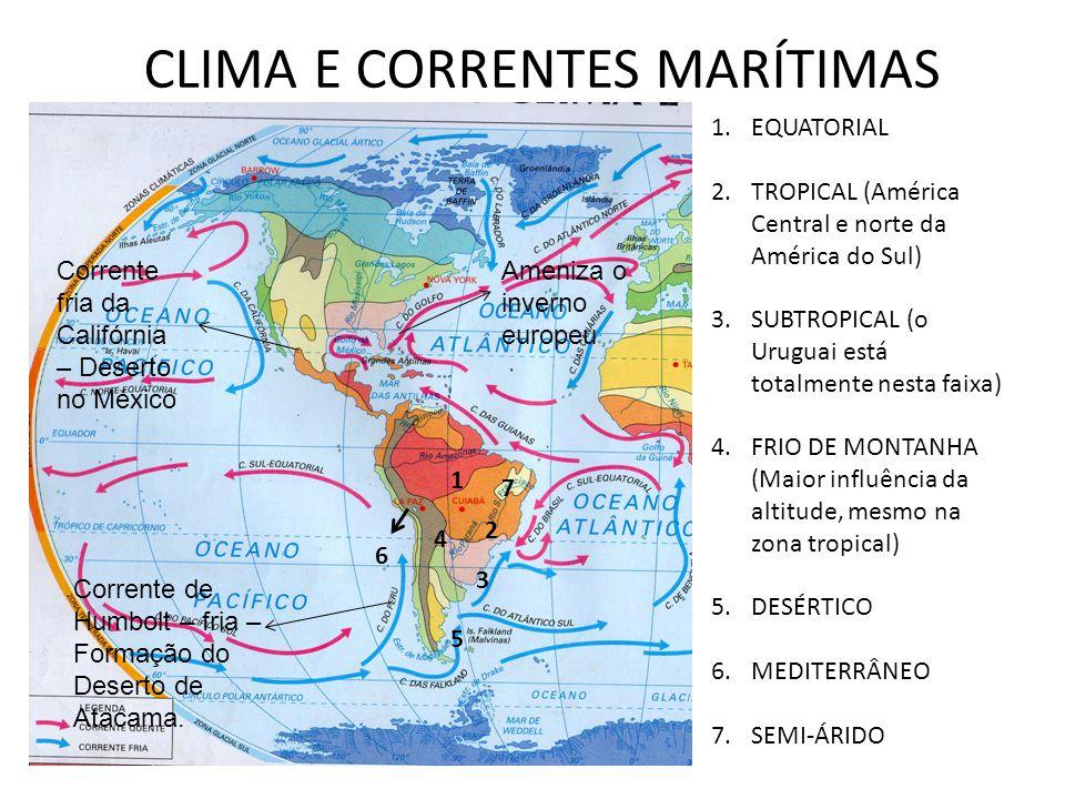 CLIMA E CORRENTES MARÍTIMAS 1 2 3 4 5 6 7 1.EQUATORIAL 2.TROPICAL (América Central e norte da América do Sul) 3.SUBTROPICAL (o Uruguai está totalmente