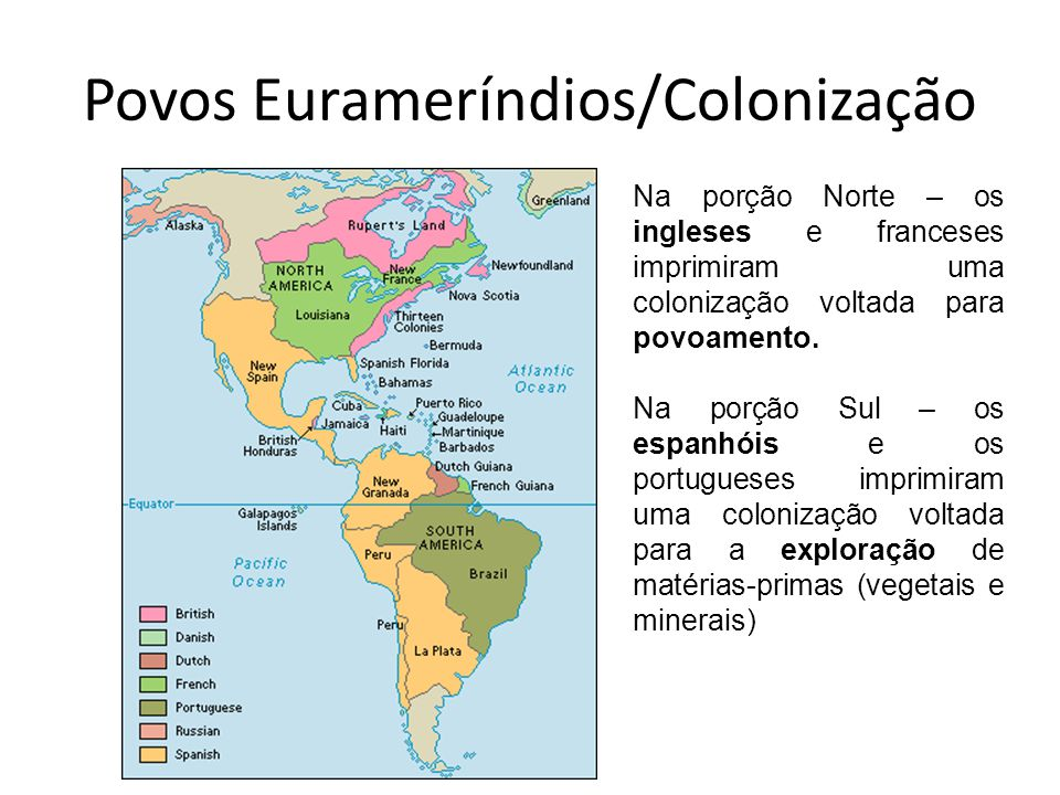 Povos Eurameríndios/Colonização Na porção Norte – os ingleses e franceses imprimiram uma colonização voltada para povoamento. Na porção Sul – os espan