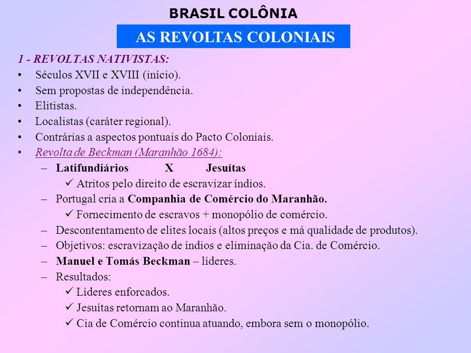 BRASIL COLÔNIA AS REVOLTAS COLONIAIS 1 - REVOLTAS NATIVISTAS: Séculos XVII e XVIII (início).