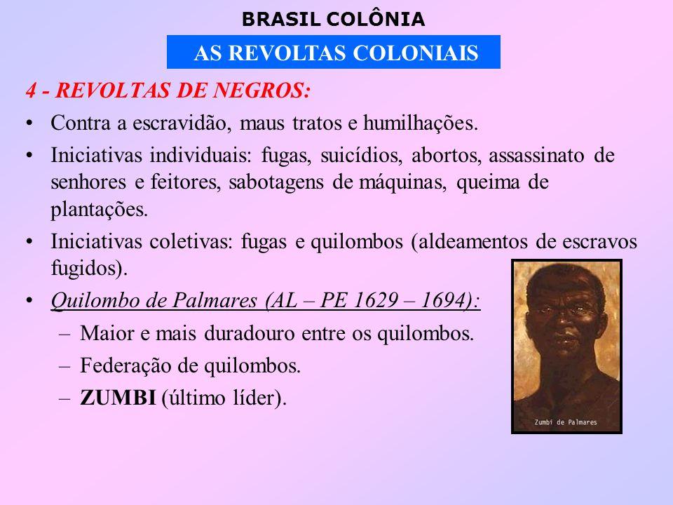 BRASIL COLÔNIA AS REVOLTAS COLONIAIS 4 - REVOLTAS DE NEGROS: Contra a escravidão, maus tratos e humilhações.