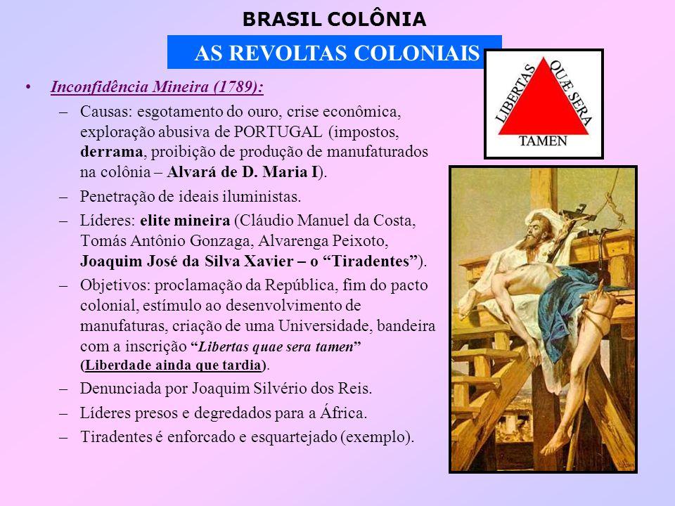 BRASIL COLÔNIA AS REVOLTAS COLONIAIS Conjuração Carioca (1794): –Manifestações contrárias ao absolutismo.