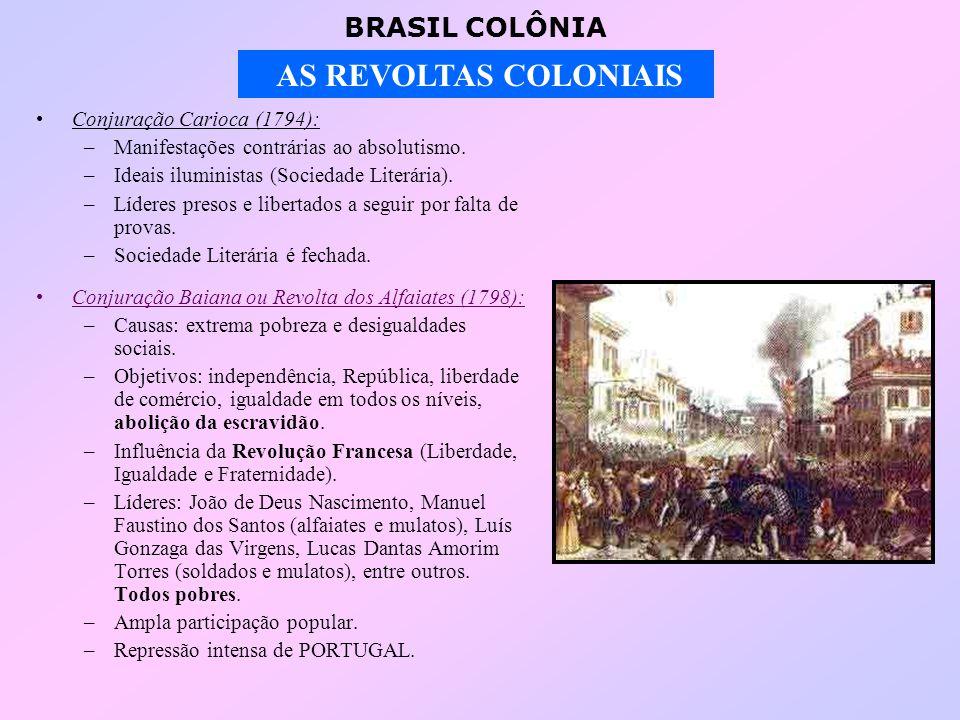 BRASIL COLÔNIA AS REVOLTAS COLONIAIS COMPARAÇÃO ENTRE AS CONJURAÇÕES MINEIRA E BAIANA