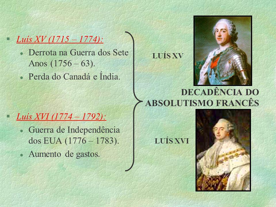 §Luís XV (1715 – 1774): l Derrota na Guerra dos Sete Anos (1756 – 63). l Perda do Canadá e Índia. §Luís XVI (1774 – 1792): l Guerra de Independência d
